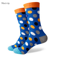 Wholesale Knitting Combs - 2016 New style colorful dot men's combed cotton socks brand man dress knit socks Wedding Gifts Free shipping US size(7.5-12) 344