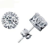 noble joyería de moda 925 al por mayor-HYWo diseño de lujo 925 plata esterlina Clear CZ diamante noble Crown stud pendientes regalo de la joyería de moda envío gratis