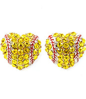 Wholesale platinum stud earrings - 2018softballsunny usa sports softball red drop oil heart yellow crystal hook earrings studs