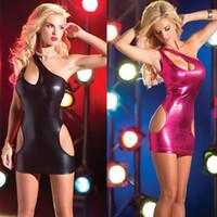 roupa interior vermelha sexo preto venda por atacado-Sexy pijama Lingerie Sexy sexy trajes sexo conjunto de cueca camisola Preto Vermelho duas cores ombro exposto trajes de papel de peitos