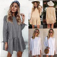 Wholesale Loose Short Dress - 2017 autumn Women long sleeve loose lace Dress fashion new Vestido vintage female mujer casual ruffles short mini dress
