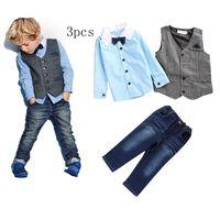 Wholesale Outfit Children Jeans - Spring autumn baby boys outfits shirt+vest tank jacket+denim jeans+ties 4pcs boy's clothing set children formal suits kids fashion outwear