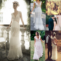 Wholesale Deep Ivory Wedding Gowns - Vintage lihi hod Wedding Dresses Sheer Deep V Neck Backless Bohemia Lace Applique 2016 Wedding Gowns Chiffon Court Train Long Bridal Dress