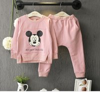 Wholesale Pink Zebra Princess - Fall Pink Princess Mickey long-sleeved cotton casual two suits T shirt + trousers 2016 new style girls sports clothes Baby Clothing E455