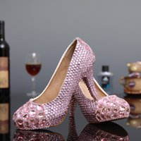 Wholesale Large Pink Rhinestone - 2016 New Arrival Pink Wedding Shoes with Heavy Rhinestones High Heels 14cm 12cm 10cm 8cm Large Size Beautiful Party Shoes