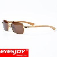 Wholesale Metal Shadow Box - sunglasses water shadow wood square metal frame 55mm UV400 men luxury brand designer sunglasses for men fashion driver glasses with box