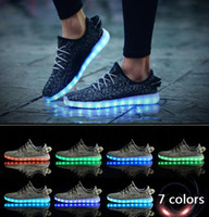 Wholesale Kids Shoe Colorful - LED Shoes light Up colorful Flashing Sneakers with USB Charge Unisex Fluorescent Couple Shoes Party Men Sport Casual Shoes for Kid and Adult
