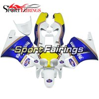 Wholesale V4 Motorcycle - Complete Motorcycle Blue White Yellow Fairings For Honda RVF400 RVF400R NC35 V4 Year 1993 1998 Plastic ABS Compression Fairing Kits Cowlings