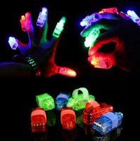 Wholesale Birthday Laser Lights - Fun Finger Lights LED Beams Laser Rings Raves Neon Glow Lamps party birthday Chistmas Disco props festive favor evernt supplies 4color