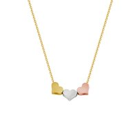 Wholesale Colored Stainless Steel Pendants - Wholesale 10Pcs lot 2017 New Fashion Stainless Steel Jewelry Pendant Colored Three Heart Necklace Gold Chain Choker Necklaces For Women