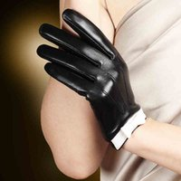 Wholesale Women S White Leather Gloves - 2016 Fashion Women Leather Gloves Cute Elegant Wrist Bow Solid Genuine Sheepskin Glove Black White Short Style Hot Sale L154nn