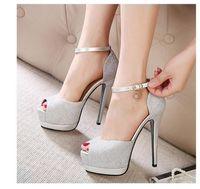Wholesale White Silver Colors Platform - 2017 Romantic silver wedding shoes platform stiletto heel glitter shoes women dress shoes 3 colors size 34 to 39
