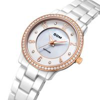 Wholesale Dom Ceramic - DOM Casual Ladies Watch Waterproof Quartz Watch for Women Ceramic Women Watch Female Clock Montre Femme Rhinestone Ladies Watch