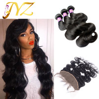 Wholesale Hair Weavs - Brazilian Hair Bundles With Ear To Ear Lace Frontal Closure Body Wave Hair Weavs With Lace Closure Baby Hair Lace Frontal