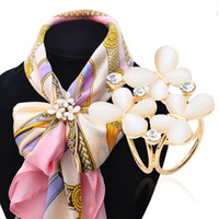 Wholesale Silk For Scarfs China - Fashion Butterfly Tricyclic Scarf Buckle 2016 High Quality Stewardess Silk Scarves Buckle opals Scarf Buckle Brooches For Women DHH013