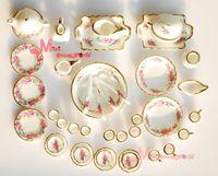 Wholesale Dollhouse Tea Set - Dollhouse Miniature Porcelain Rose Tea Dinner Set 40PCS