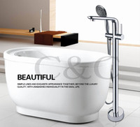 Wholesale Bathroom Floor Stand Bathtub Faucet Mixer Set Hand Held Shower Chrome Solid Brass Sets Per Carton