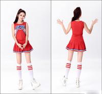 Wholesale Glee Dress - Hot Baseball Football Cheerleading Glee Costume Aerobics Clothing Uniforms for Performances Sleeveless Dress Size S M L XL XXL 100pcs