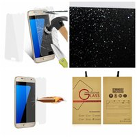 Wholesale Glittering Screen - 0.3mm Bling Diamond Glitter Premium Tempered Glass Screen Protector For Samsung Galaxy S7 G9300 Powder Sparkle Sparking Film With Package