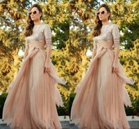 Wholesale Cheap Sequins Ribbon - 2016 Sparkly Cheap Blush Chiffon Bridesmaid Dresses Sexy Crew Long Sleeve Sequins Ruffles Floor Length Maid of Honor Dress Custom Made
