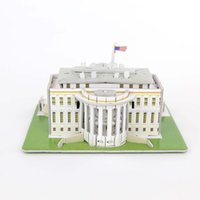 Wholesale 3d Puzzle Castle Building Toy - Wholesale-DIY Puzzle The White House Castle 3D Puzzle Toy Paper Model Creative Toy For Children's Birthday Gift House Model Building
