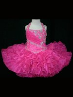 Wholesale Halter Top Glitz Dresses - Halter Top Kness Little Cupcake Dress Love Little Girl hot pink Glitz Toddler