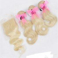 renk 32 saç örgüsü toptan satış-Brezilyalı Sarışın Saç Demetleri 1 Adet Vücut Dalga Dantel Kapatma Ile 3 Adet # 613 Sarışın Renk Saç Örgü Kapatma Ile Brezilyalı Vücut Dalgalı 4 Adet / grup