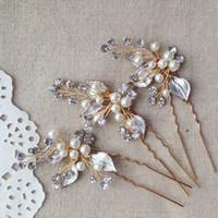 Wholesale Vintage Bride Pin - 3pcs lot Vintage Wedding Hair pins Pearls Bridal Headpiece Handmade Hair Accessories For Brides 2016 Wholesale Bridal Jewelry