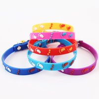 Wholesale Pet Collar Material - Pet Dog Collars Eco-friendly TPR Rubber Material Heart Footprints Pattern Beautiful Bell Collar Size 1.0cm WA0737