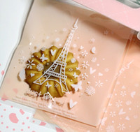 Wholesale Lovely Eiffel - New 200pcs lot Paris Eiffel Tower Self Adhesive Seal Snack bags Lovely Biscuits Bread Cookie Gift Bag 10x10+4cm envelope