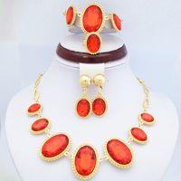 pulsera chapada en oro amarillo al por mayor-18K chapado en oro amarillo Ruby Stone Jewelry Sets Elegante collar de la boda Rhinestone rojo, pulsera, pendientes y anillo de la joyería fija 720