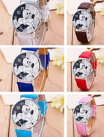 Wholesale Original children love Mickey mouse cartoon watch Preety boy girl fashion simple quartz women leather watches cutie DHL