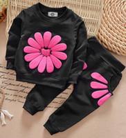Wholesale Girls Sun Suits - Autumn kids clothes girl long sleeve sun flower shirt+pant set 2 pieces children clothes suit 5 colors