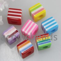 Wholesale 8mm Striped Resin Beads - Wholesale 9*9*8mm Multicolor Square Shape Striped Resin Cube Beads for Jewelry Making 30 100 300 500pcs