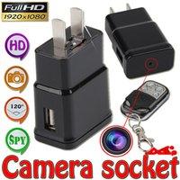 Wholesale Mini Dv Plug - 1pcs 1080P HD Mini Spy AC Adapter Charger Plug Hidden Camera DVR Video Recorder Motion Detection Mini DV With Remote Control For Security
