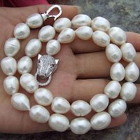 Wholesale 13mm Pearl Necklace - 11-13mm Natural White Baroque Pearl Necklace 18inch for Women's Gift