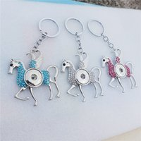 Wholesale rhinestone horse keyring resale online - 12pcs Mix Colors Exaggerated Rhinestone Flying Horse Keyring Noosa Chunks mm Snap Buttons Key chains cm Jewelry