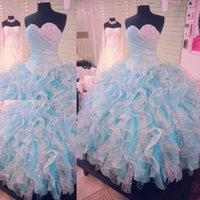 mais tamanho branco vestidos de quinceanera venda por atacado-Elegante vestido de baile quinceanera vestidos para sweet 16 azul e branco vestido de baile quinceanera vestido de rendas até babados plus size prom vestidos
