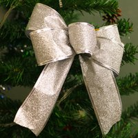 Wholesale Christmas Tree Decorating Ribbon - 2017 Hot Sell Christmas Decoration Phnom Penh Ribbon Family Party HotelLovely Decorated Christmas Tree Bow Strap Crafts