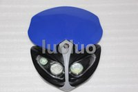 faro azul motocicleta al por mayor-Motocicleta LED faro doble deporte para xr 400 650 crf230 super moto azul dirt bike