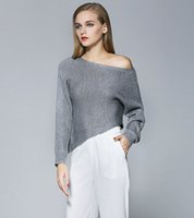 Wholesale Coarse Yarn - 2016 Popular Grey Cashmere Sweaters Long Sleeve Slash Neck Strapless Asymmetcial Thick Coarse Yarn Off Shoulder Knit Korean Sweater