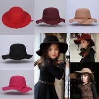 klasik şapkalar toptan satış-Sıcak 2017 Küçük Kızlar Vintage Retro Çocuklar Çocuk Kız Şapka Fedora Yün Ezilebilir Geniş Ağız Cloche Disket Hissettim Sun Beach Cap Ücretsiz kargo