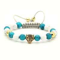 Vente en gros 10pcs / lot 8mm Turquoise Howlite Stone Blue Cz Leopard Head Braided European American Style Weaved Womens Bracelets