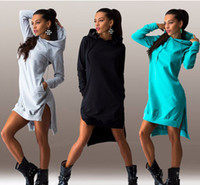 Wholesale Sleeved Knee Length Dresses - Women's Dress Daily Wear Black Gray Sweater Dress Fleeced Hoodies Long Sleeved Fashion Girls Clothes Street Style Black And White Mix Gowns