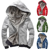 Wholesale Thick Warm Coats - Fashion Mens Plush Thick Warm Hoodie Overcoat Winter Coat Hooded Long Jacket Hooded Jacket Large Size