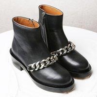лучшие модные каблуки оптовых-2018 Лучшие продажи женские сапоги мода Металлические цепи на низком каблуке из высококачественной кожи ботильоны на молнии bling Короткие ботинки