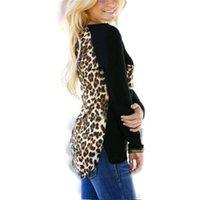 Wholesale Blouse Size 18 - Plus US Size 4-18 Blusas 2015 Autumn Women Casual Blouses Sexy Ladies Tee Tops Long Sleeve Leopard Patchwork Shirts Femininas
