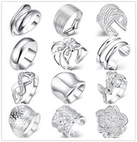 Wholesale Cute Beautiful Ring - Mixed style 925 sterling silver finger ring fashion unisex jewelry beautiful cute street style Top Quality Free Shipping