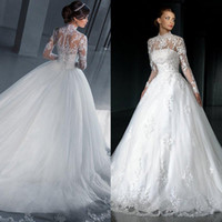 2017 Vintage Lace Wedding Dresses with Jacket Long Sleeves Modest Two Pieces High Neck Line Tulle Bridal Gowns Plus Size Custom Made