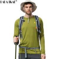 ciclismo de trekking al por mayor-Al por mayor-Hombres Camisas al aire libre Deporte Senderismo Trekking Camping Camisas de secado rápido Ciclismo Escalada de Viaje Transpirable Camisas de Entrenamiento HMD0177-5